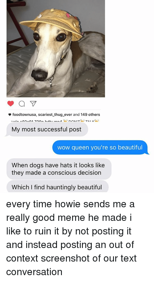 """Wow Queen Youre So Beautiful: foodtownusa, scariest thug ever and 149 others  An  A1 """"7 nin,  nr NIIT  TAIL/  My most successful post  wow queen you're so beautiful  When dogs have hats it looks like  they made a conscious decision  Which find hauntingly beautiful every time howie sends me a really good meme he made i like to ruin it by not posting it and instead posting an out of context screenshot of our text conversation"""