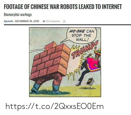 Stop The: FOOTAGE OF CHINESE WAR ROBOTS LEAKED TO INTERNET  Biomorphic warhogs  Sputnik - DECEMBER 18, 2016  373 Comments  NO ONE CAN  STOP THE  WALL!  TA  .  Ovaskon https://t.co/2QxxsEO0Em