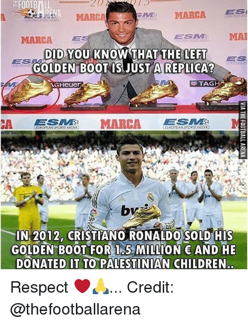 palestinian: FOOTBALL  20  MARCA  MARCA  ESM MA  DID YOU KNOW THAT THE LEFT ES  DID.YOU KNOW THATTHFEE  ES  GOLDEN B0OT IS JUSTA REPLICA  TAG  IN 2012, CRISTIANO RONALDO SOLD HIS  GOLDEN BOOT FOR I5 MION AND HE  DONATED IT TO PALESTINIAN CHILDREN Respect ❤️🙏... Credit: @thefootballarena