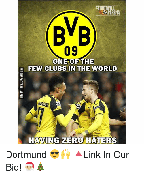 Club, Memes, and Zero: FOOTBALL  ARENA  BVB  09  ONE OF THE  E FEW CLUBS IN THE WORLD  HAVING ZERO HATERS Dortmund 😎🙌 🔺Link In Our Bio! 🎅🏼🎄