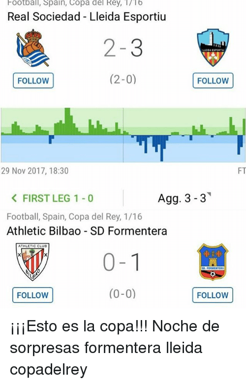 Club, Football, and Memes: Football, Spain, Copa del Rey, /16  Real Sociedad - Lleida Esportiu  2-3  (2-0)FOLLOW  LLEOA ESPORTRN  FOLLOW(  29 Nov 2017, 18:30  FT  Agg. 3-3  < FIRST LEG 1-0  Football, Spain, Copa del Rey, 1/16  Athletic Bilbao - SD Formentera  ATHLETIC CLUB  0-1  FOLLOW (0-0)  汽 ¡¡¡Esto es la copa!!! Noche de sorpresas formentera lleida copadelrey