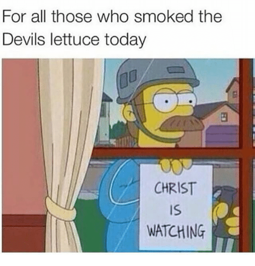 The Devils Lettuce: For all those who smoked the  Devils lettuce today  CHRIST  IS  WATCHING