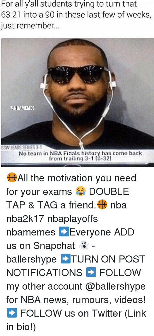 Finals, Nba, and News: For all yall students trying to turn that  63.21 into a 90 in these last few of weeks,  just remember...  a NBAMEMES  GSWIEADSSERIES3 i  No team in NBA Finals history has come back  from trailing 3-1 (0-321 🏀All the motivation you need for your exams 😂 DOUBLE TAP & TAG a friend.🏀 nba nba2k17 nbaplayoffs nbamemes ➡Everyone ADD us on Snapchat 👻 - ballershype ➡TURN ON POST NOTIFICATIONS ➡ FOLLOW my other account @ballershype for NBA news, rumours, videos! ➡ FOLLOW us on Twitter (Link in bio!)