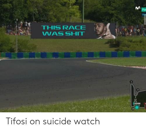 On Suicide Watch: For  Dire  THIS RACE  WAS SHIT  2  HAM  14 Tifosi on suicide watch