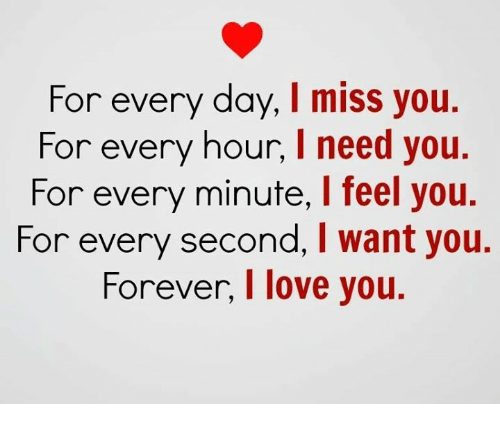 for every day i miss you for every hour i need you for