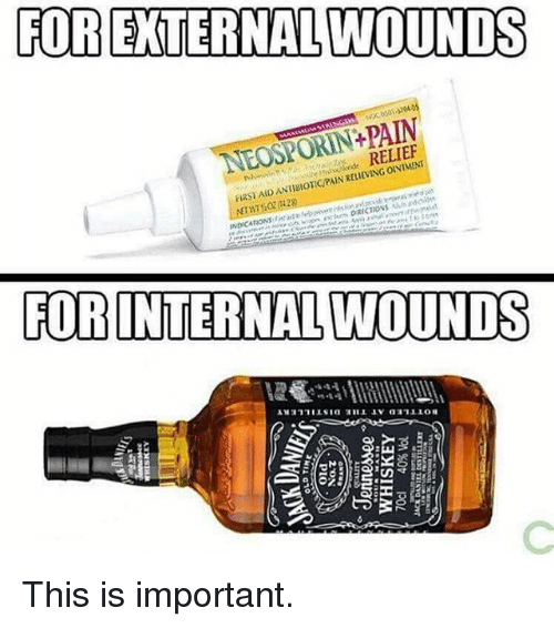 fob: FOR EXTERNAL WOUNDS  NEOSPORIN+PAIN  RELIEF  FIRSI AID ANIBOICPAIN KELIEVING OINTMENT  FOB INTERNAL WOUNDS This is important.