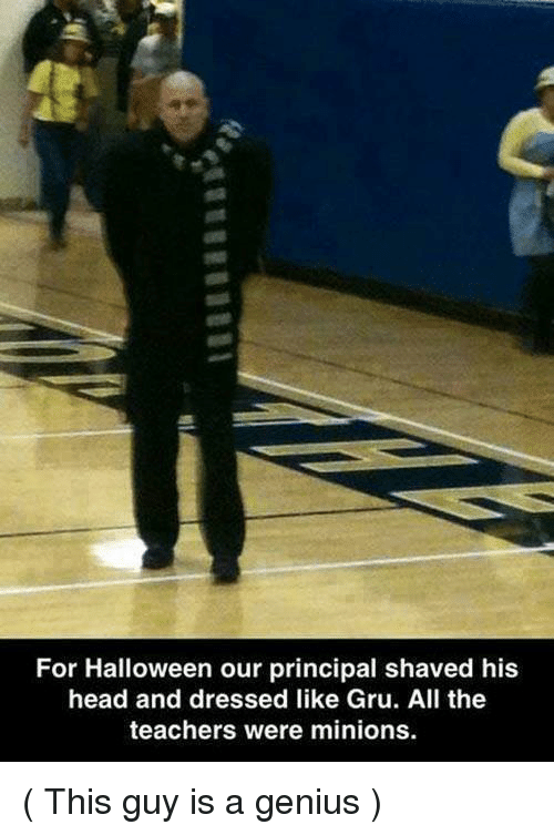 Gru: For Halloween our principal shaved his  head and dressed like Gru. All the  teachers were minions. ( This guy is a genius )