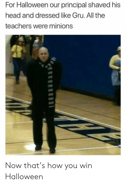 Principal: For Halloween our principal shaved his  head and dressed like Gru. All the  teachers were minions Now that's how you win Halloween