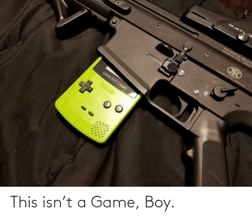game boy color: FOR LAW E  FN HERSTAL BELGIU  SCAR-H CAL  . 7.62x5I  LICENSED BY FN HERSTAL  GAME BOY COLOR  Ointonc This isn't a Game, Boy.