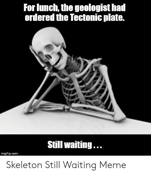 Skeleton Still Waiting: For lunch, the geologist ha  ordered the Tectonic plate.  Still waiting...  imgflip.com Skeleton Still Waiting Meme