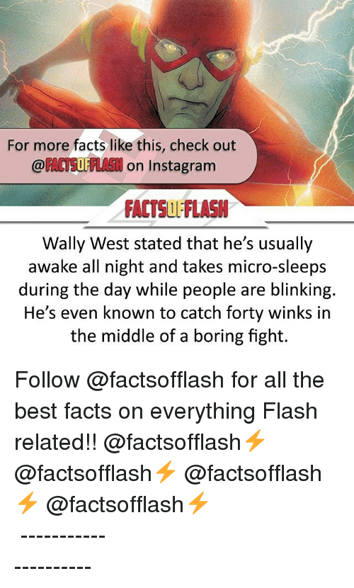 winking: For more facts like this, check out  OF  on Instagram  FACTSUL'FlASN  Wally West stated that he's usually  awake all night and takes micro-sleeps  during the day while people are blinking.  He's even known to catch forty winks in  the middle of a boring fight. Follow @factsofflash for all the best facts on everything Flash related!! @factsofflash⚡️ @factsofflash⚡️ @factsofflash⚡️ @factsofflash⚡️ ⠀⠀⠀⠀⠀⠀⠀⠀⠀⠀⠀⠀⠀⠀⠀⠀⠀⠀⠀⠀⠀⠀⠀⠀⠀⠀⠀⠀⠀⠀⠀⠀⠀⠀ ⠀⠀---------------------