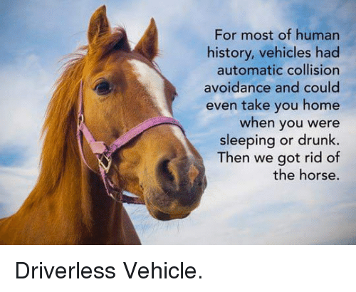 Drunk: For most of human  history, vehicles had  automatic collision  avoidance and could  even take you home  when you were  sleeping or drunk  Then we got rid of  the horse. <p>Driverless Vehicle.</p>