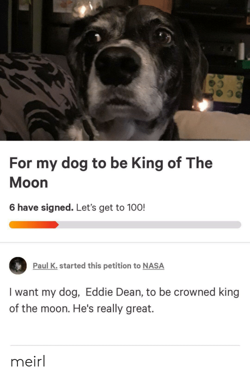 Eddie: For my dog to be King of The  Moon  6 have signed. Let's get to 100!  Paul K. started this petition to NASA  I want my dog, Eddie Dean, to be crowned king  of the moon. He's really great. meirl