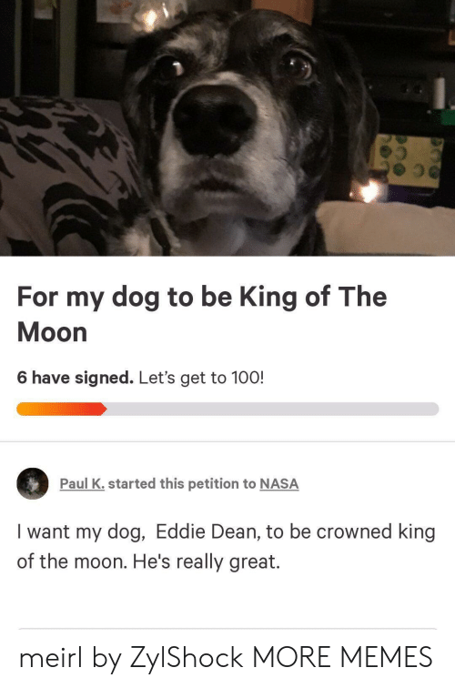 Eddie: For my dog to be King of The  Moon  6 have signed. Let's get to 100!  Paul K. started this petition to NASA  I want my dog, Eddie Dean, to be crowned king  of the moon. He's really great. meirl by ZylShock MORE MEMES