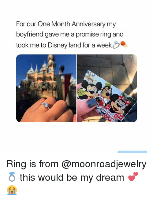 A Promise Ring: For our One Month Anniversary my  boyfriend gave me a promise ring and  took me to Disneyland for a week . Ring is from @moonroadjewelry 💍 this would be my dream 💕😭