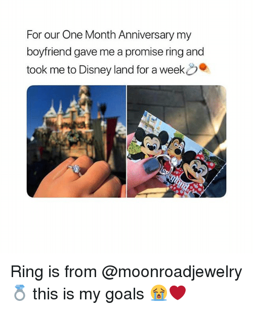 A Promise Ring: For our One Month Anniversary my  boyfriend gave me a promise ring and  took me to Disney land for a week Ring is from @moonroadjewelry💍 this is my goals 😭❤