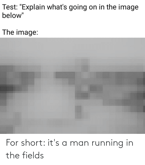Running In The: For short: it's a man running in the fields