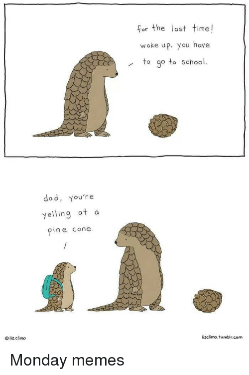 Monday Memes: for the last time!  or the Tas  wake up, you have  to go to school.  dad, you're  yelling at a  pine cone  liz climo  lizclimo. tumblr.com Monday memes