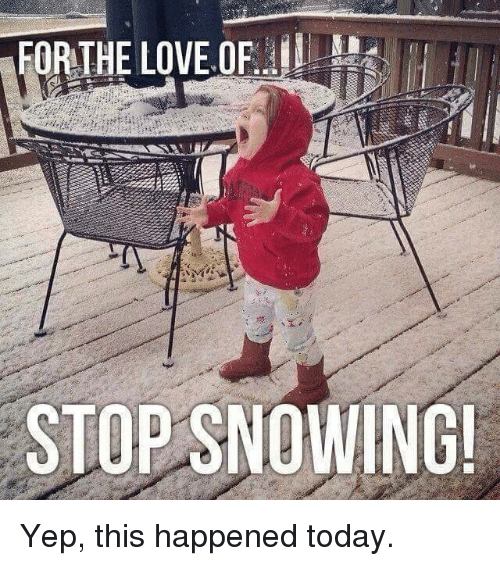 Stop Snowing: FOR THE LOVE OF  STOP SNOWING! Yep, this happened today.