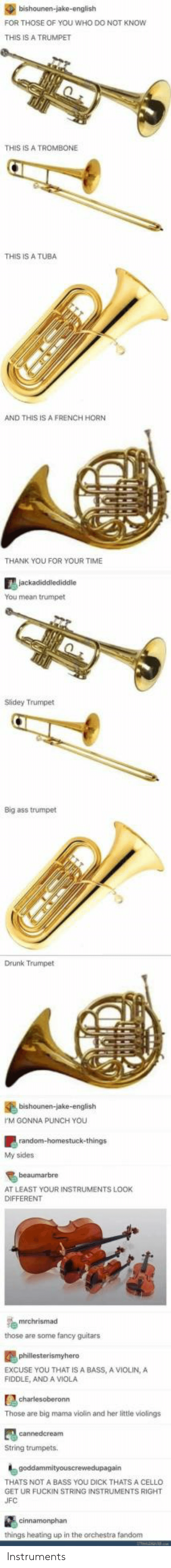 You Dick: FOR THOSE OF YOU WHO DO NOT KNOw  THIS IS A TRUMPET  THIS IS A TROMBONE  THIS IS A TUBA  AND THIS IS A FRENCH HORN  THANK YOU FOR YOUR TIME  You mean trumpet  Slidey Trumpet  Big ass trumpet  Drunk Trumpet  M GONNA PUNCH YOU  My sides  AT LEAST YOUR INSTRUMENTS LOOK  DIFFERENT  those are some fancy guitars  EXCUSE YOU THAT IS A BASS, A VIOLIN,A  FIDDLE, AND A VIOLA  Those are big mama violin and her little violings  String trumpets  THATS NOT A BASS YOU DICK THATS A CELLO  GET UR FUCKIN STRING INSTRUMENTS RIGHT  things heating up in the orchestra fandom Instruments