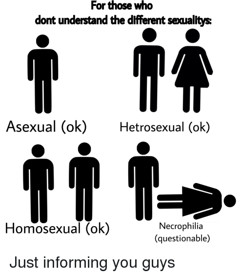 Asexual, Dank Memes, and Who: For those who  dont understand the different seaualitys  Asexual (ok)Hetrosexual (ok)  Homosexual (ok)  Necrophilia  (questionable)