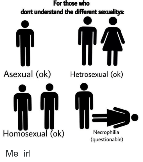 Asexual, Irl, and Me IRL: For those who  dont understand the different secualitys  Asexual (ok)Hetrosexual (ok)  Homosexual (ok)  Necrophilia  (questionable)