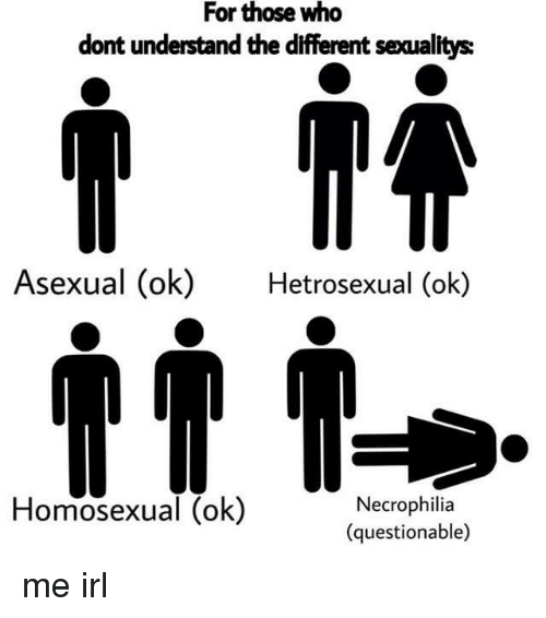 Asexual, Irl, and Me IRL: For those who  dont understand the different sexualitys  Asexual (ok)  Hetrosexual (ok)  Homosexual (ok)  Necrophilia  (questionable)