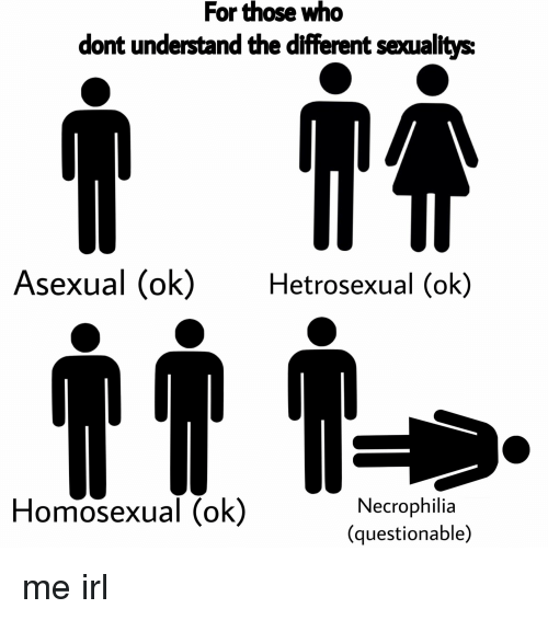 Asexual, Irl, and Me IRL: For those who  dont understand the different sexualtys:  Asexual (ok)Hetrosexual (ok)  Homosexual (ok)  Necrophilia  (questionable)