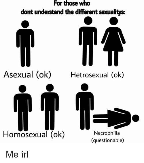 Asexual, Irl, and Me IRL: For those who  dont understand the different sexualtys:  Asexual (ok)Hetrosexual (ok)  Homosexual (ok)  Necrophilia  (questionable) Me irl
