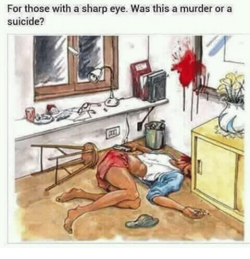 Memes, Suicide, and Murder: For those with a sharp eye. Was this a murder or a  suicide?