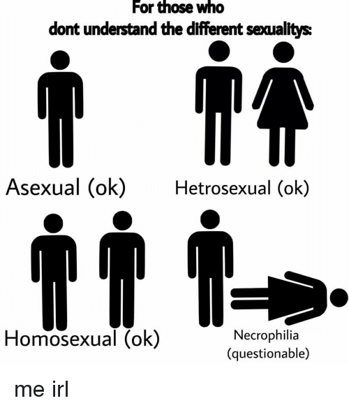 Asexual, Irl, and Me IRL: For those wno  dont understand the different seaualitys  Asexual (ok)Hetrosexual (ok)  Homosexual (ok)  Necrophilia  (questionable) me irl