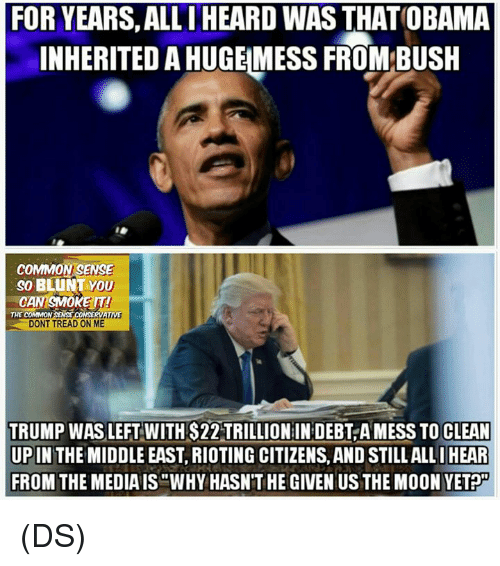 "Memes, Common, and Moon: FOR YEARS, ALLIHEARD WAS THATOBAMA  INHERITED AHUGEMESS FROM BUSH  COMMON SENSE  SO BLUNT YOU  CAN SMOKE IT!  RERNATIVE  THE COMMO  DONT TREAD ON ME  TRUMP WAS LEFT WITH $22 TRILLIONIN DEBT, A MESS TO CLEAN  UP IN THE MIDDLE EAST, RIOTING CITIZENS, AND STILLALLI HEAR  FROM THE MEDIAIS ""WHY HASNTHE GIVEN US THE MOON VET (DS)"