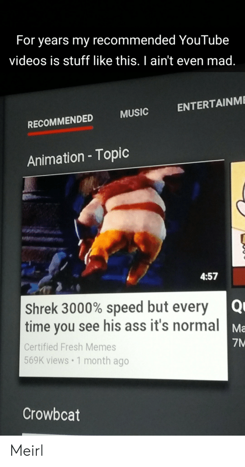 But Every Time: For years my recommended YouTube  videos is stuff like this. I ain't even mad.  ENTERTAINME  MUSIC  RECOMMENDED  Animation - Topic  4:57  Shrek 3000% speed but every  time you see his ass it's normal  Ma  7M  Certified Fresh Memes  569K views 1 month ago  Crowbcat Meirl