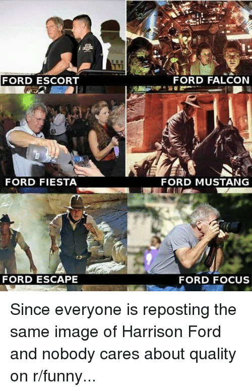mustang ford: FORD ESCORT  FORD FALCON  FORD FIESTA  FORD MUSTANG  FORD ESCAPE  FORD FOCUS Since everyone is reposting the same image of Harrison Ford and nobody cares about quality on r/funny...