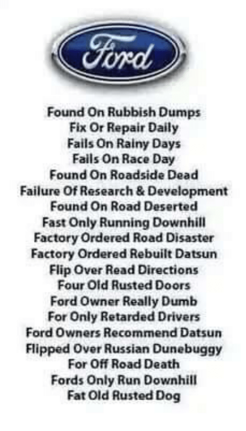 Ford Found on RubbishDumps Fix or Repair Daily Fails on Rainy Days