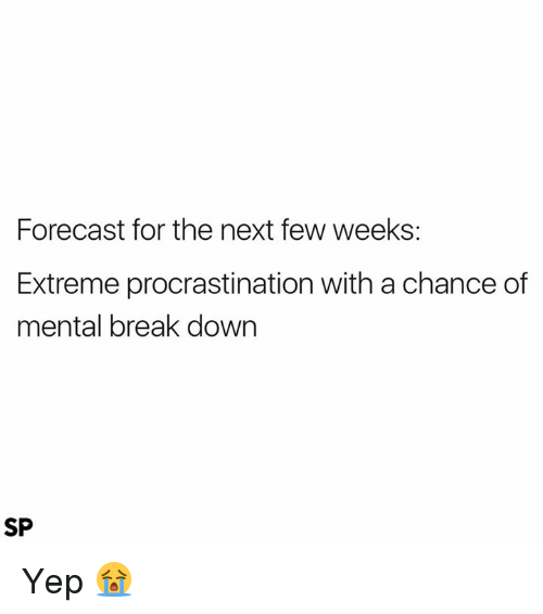 Procrastination: Forecast for the next few weeks:  Extreme procrastination with a chance of  mental break down  SP Yep 😭