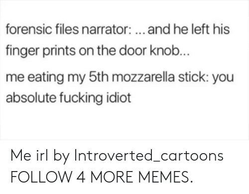introverted: forensic files narrator:..and he left his  finger prints on the door knob...  me eating my 5th mozzarella stick: you  absolute fucking idiot Me irl by Introverted_cartoons FOLLOW 4 MORE MEMES.