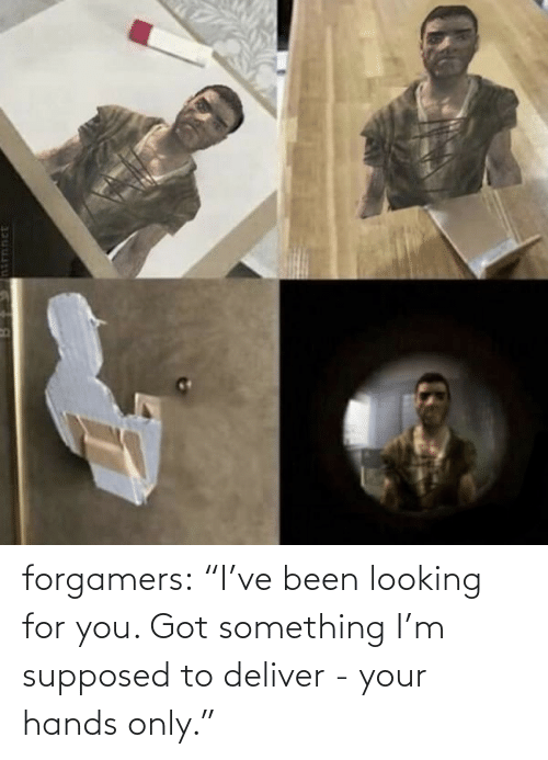 "Target, Tumblr, and Blog: forgamers:  ""I've been looking for you. Got something I'm supposed to deliver - your hands only."""