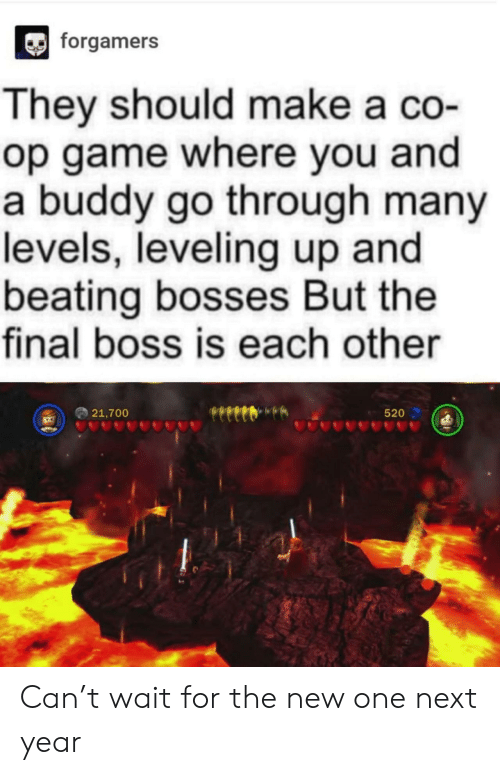 Final boss: forgamers  They should make a co-  op game where you and  a buddy go through many  levels, leveling up and  beating bosses But the  final boss is each other  21,700  520 Can't wait for the new one next year