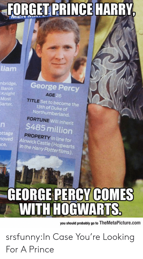 baron: FORGET PRINCE HARRY  liam  bridge. George Percy  Baron  Knight  Most  arter,  AGE  6  TITLE  Set to become the  13th of Duke of  Northumberland.  Will inherit  $485 million  ttage  PROPERTY In lin  noved Ainwick Castle (Hogwarts  in the Harry Potterfilms).  се.  GEORGE PERCY COMES  WITH HOGWARTS  you should probably go to TheMetaPicture.com srsfunny:In Case You're Looking For A Prince