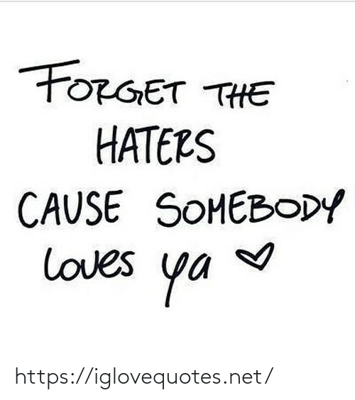 haters: FORGET THE  HATERS  CAUSE SOMEBODY  loves  ya https://iglovequotes.net/