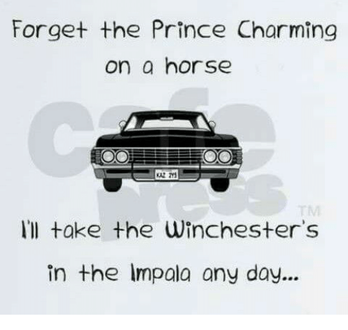 Memes, Prince, and Horse: Forget the Prince Charming  on a horse  Ill take the Winchester's  in the lmpala any day...