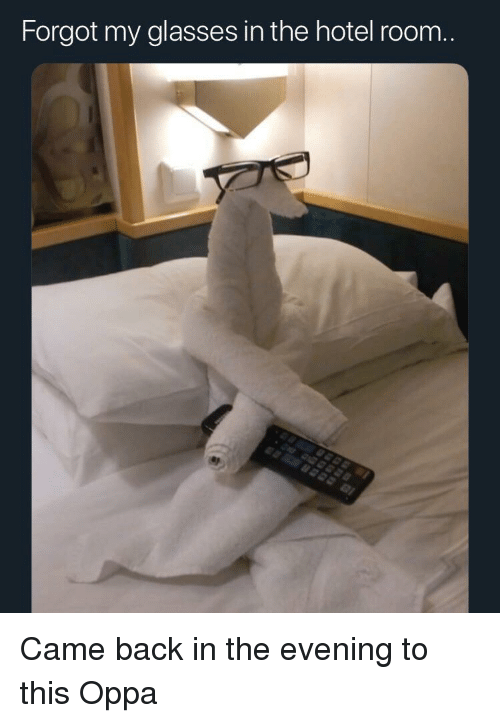 hotel room: Forgot my glasses in the hotel room.. Came back in the evening to this Oppa