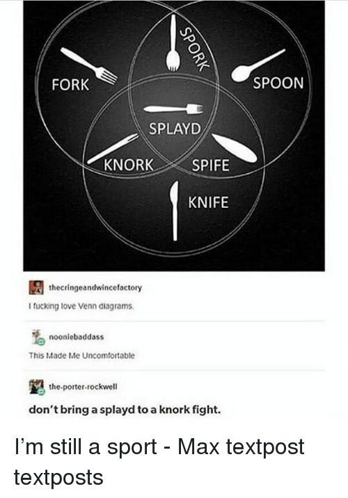 Fucking, Memes, and Fight: FORK  SPOON  SPLAYD  KNIFE  thecringeandwincefactory  I fucking tove Venn diagrams  noonlebaddass  This Made Me Uncomfortable  the-porter-rockwell  don't bring a splayd to a knork fight. I'm still a sport - Max textpost textposts