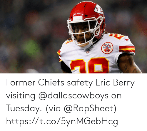 eric berry: Former Chiefs safety Eric Berry visiting @dallascowboys on Tuesday.  (via @RapSheet) https://t.co/5ynMGebHcg