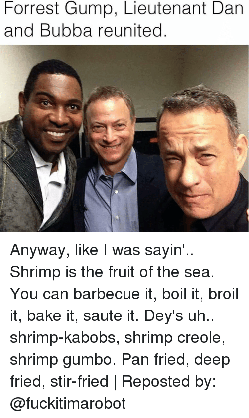 gumbo: Forrest Gump, Lieutenant Dan  and Bubba reunited Anyway, like I was sayin'.. Shrimp is the fruit of the sea. You can barbecue it, boil it, broil it, bake it, saute it. Dey's uh.. shrimp-kabobs, shrimp creole, shrimp gumbo. Pan fried, deep fried, stir-fried | Reposted by: @fuckitimarobot