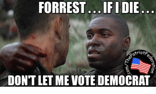 Memes, 🤖, and Democrat: FORREST ...IFIDIE...  otriotA  DONTLETME VOTE DEMOCRAT