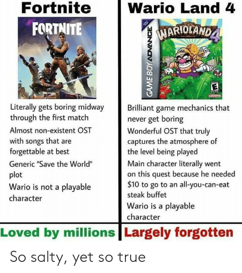"""wario: Fortnite  FORTNITE  Wario Land 4  MARIOLAND  1  Literally gets boring midway rilliant game mechanics that  through the first match  Almost non-existent OST  with songs that are  forgettable at best  Generic """"Save the World""""  plot  Wario is not a playable  character  never get boring  Wonderful OST that truly  captures the atmosphere of  the level being played  Main character literally went  on this quest because he needed  $10 to go to an all-you-can-eat  steak buffet  Wario is a playable  character  Loved by millions Largely forgotten So salty, yet so true"""