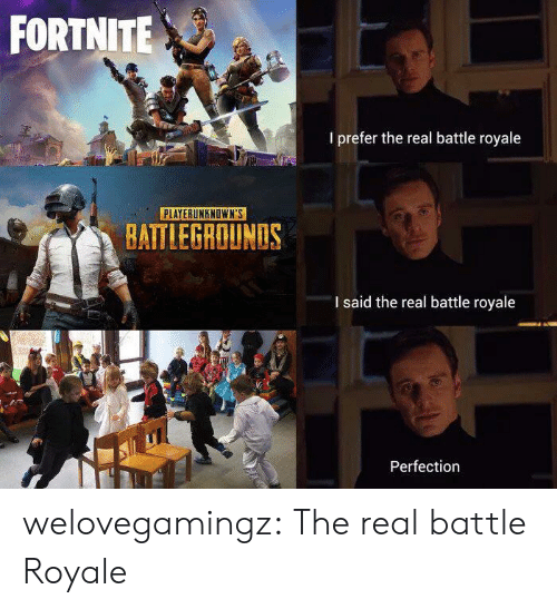 Battle Royale: FORTNITE  I prefer the real battle royale  PLAYERUNKNOWN'S  BATTLEGROUNDS  I said the real battle royale  Perfection welovegamingz:  The real battle Royale
