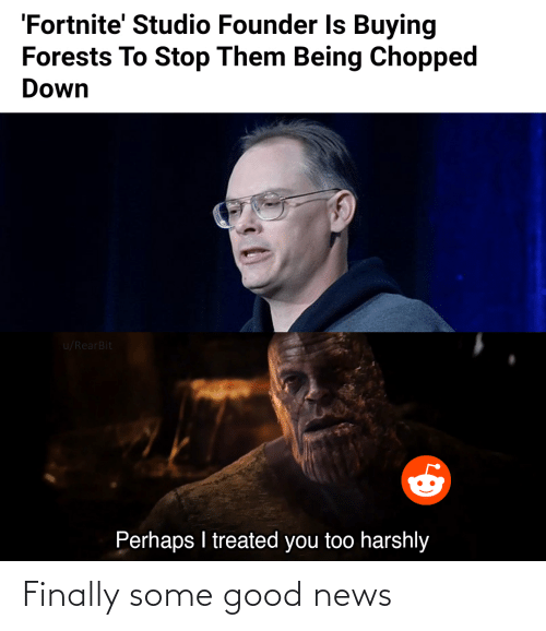 chopped: 'Fortnite' Studio Founder Is Buying  Forests To Stop Them Being Chopped  Down  u/RearBit  Perhaps I treated you too harshly Finally some good news